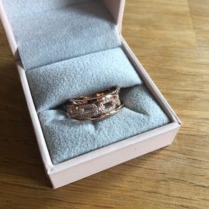 Diamonique Rose Gold Ring Diamonte